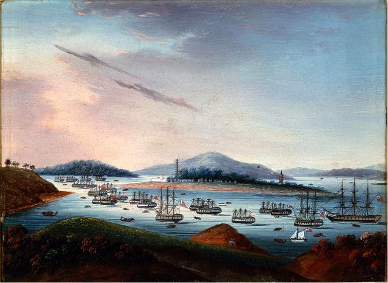 A view of Whampoa anchorage from Dane's Island, oil on copper, circa 1810, image courtesy of Wikipedia