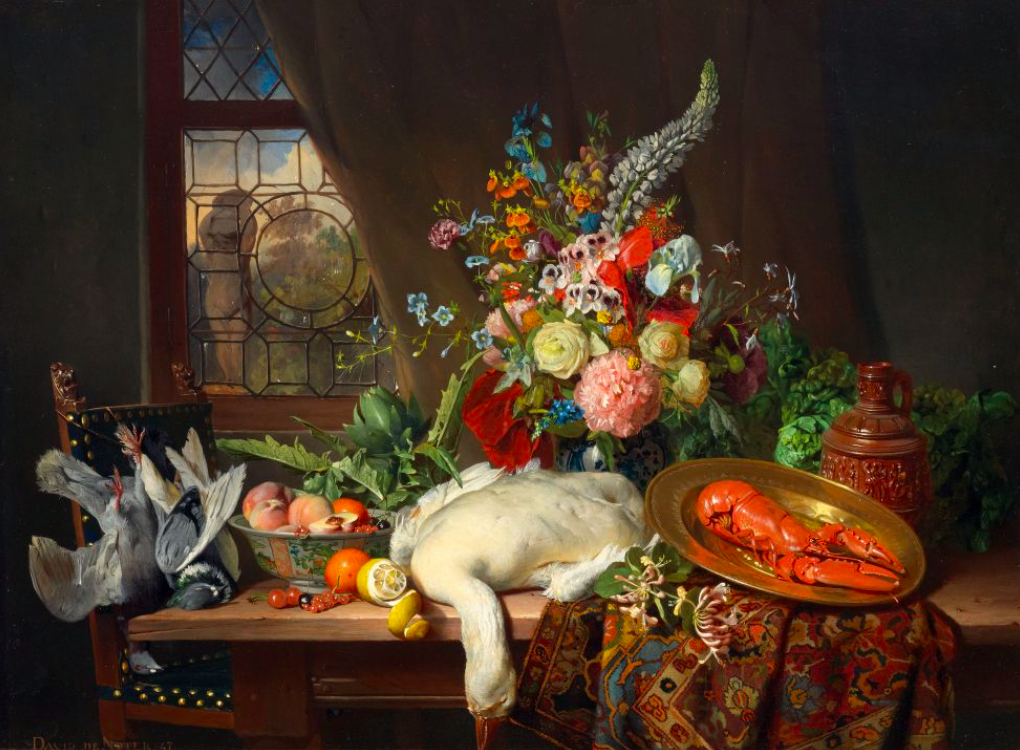 David Emil Joseph de Noter, nature morte, huile sur bois, signé et daté 1847, image ©Koller