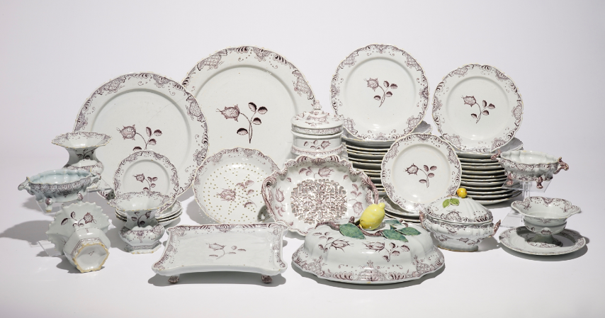 48 piece service, Delft manganese earthenware, 18th century