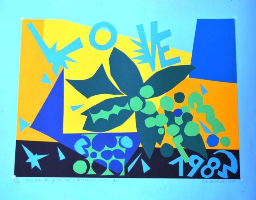 """Yves SAINT-LAURENT (1936 - 2008)  """"LOVE"""" Lithographie de 1983, signée en bas ‡ droite Pays de Fayence"""