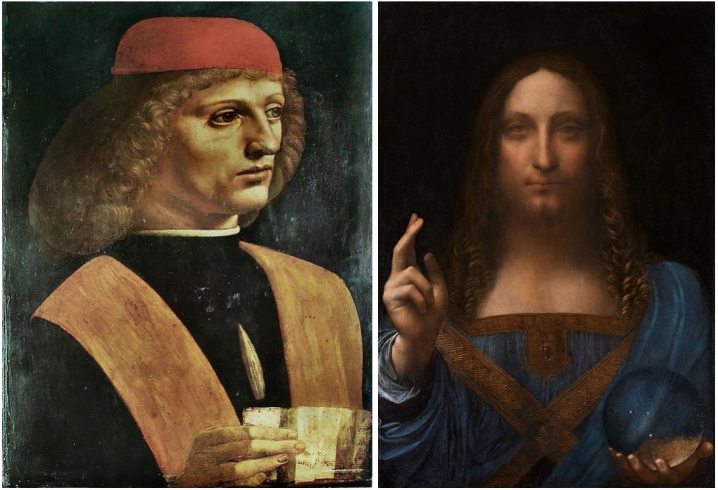 Links: Bildnis eines Musikers, Öl u. Tempera/Holz, um 1485-90, Mailand, Pinacoteca Ambrosiana Rechts: Salvator Mundi, Öl/Holz, um 1500, Privatbesitz