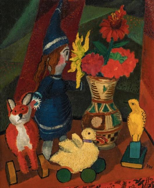 RUDOLF WACKER (Bregenz 1893 - 1939 Bregenz) - Stillleben mit Blumenkrug und Puppe II, Öl/Lwd., 55x44 cm, monogrammiert, signiert und datiert, 1924 Schätzpreis: 100.000-200.000 EUR