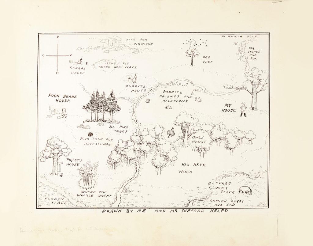 Carte originale « The Hundred Acre Wood » par Shepard, image ©Sotheby's