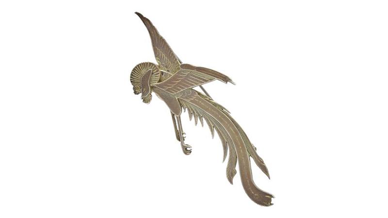 Brosch - Wiwen Nilsson, brosch, nr 30, sterlingsilver, paradisfågel, signerad, Lund 1963, längd 7,7 cm, vikt 17,1 g. (d). På auktion hos Kaplans Auktioner den 28 maj.