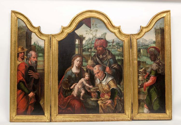 Tryptik av Pieter Van Aelst Den Coecke, 103x160, tempera på duk. Lot 107. Utrop: 744.000 SEK