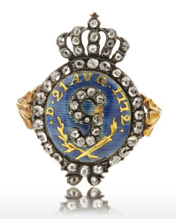 Gustaf III revolutionsring i guld, emalj, diamanter