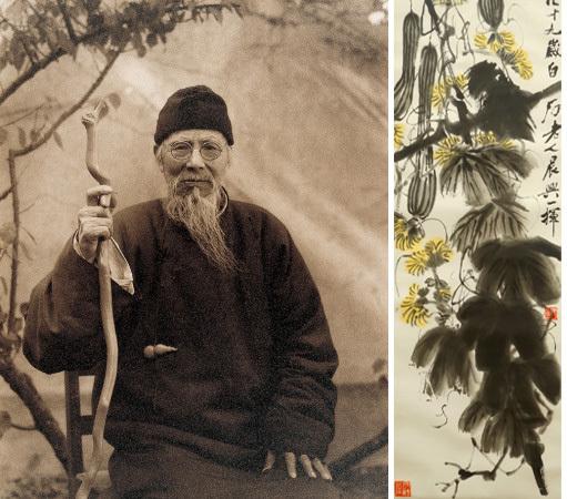 Links: Qi Baishi (1864-1957) Rechts: Los 220: Qi Baishi - Lange Melonen und ihre Reben, Tinte u. Farbe/Papier