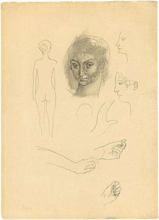 """PABLO PICASSO (1881 Málaga – 1973 Mougins) - Page d'album - """"Études"""", Tuschfeder/Papier, signiert, 1904"""