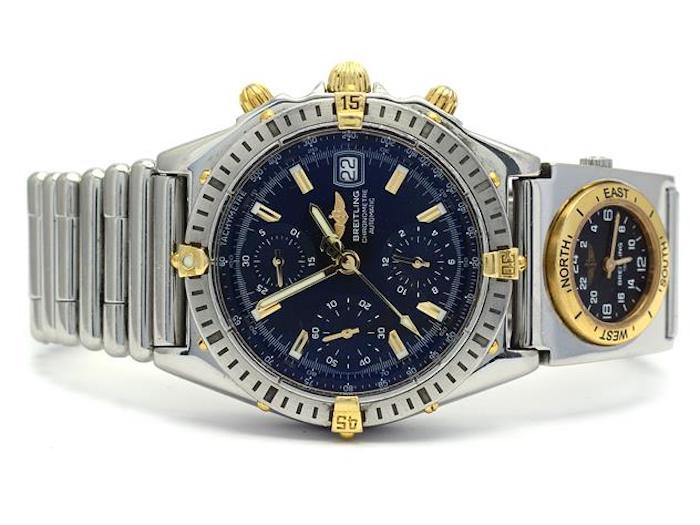 "Breitling, Chronomat, Chronometre, ""Tachymetre"", refnr.B13352, snr.524879, kronograf, herrur, automat, bicolor, safirglas, datum, UTC, refnr.B70172, snr.0138, Rouleauxlänk, reseetui"