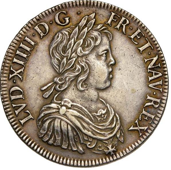 Écu à la mèche courte 1644 Paris