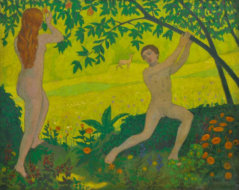R. MITSUI Adam et Eve, 1932 – Huile sur toile Signé R. Mitsui en bas à droite et daté Accademia Fine Art