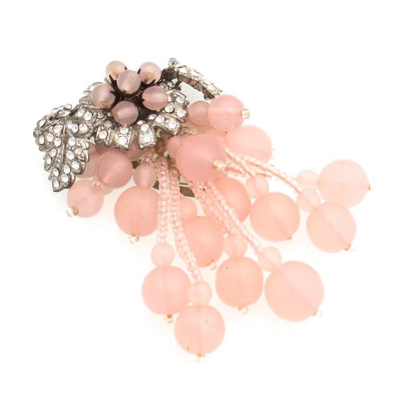 Broche Vintage de MIRIAM HASKELL en cuarzo rosa
