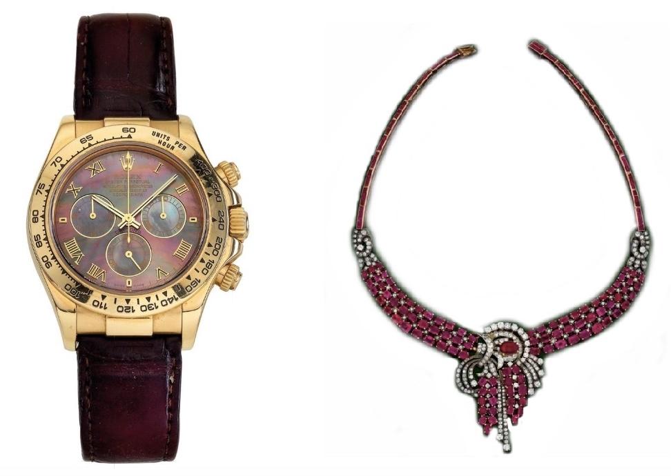 Links: ROLEX Oyster Perpetual Cosmograph Daytona, Gold, Perlmutt, um 2001 Rechts: Collier, Gold, Roségold, Silber, Rubine, Diamanten