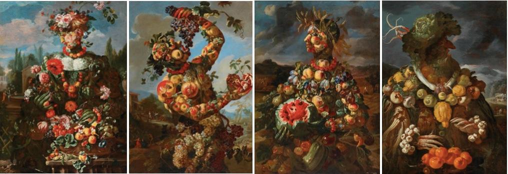 GIOVANNI PAOLO CASTELLI gen. LO SPADINO (Rom 1659 – um 1730) Von links nach rechts: Anthropomorphe Allegorie des Frühlings, des Sommers, des Herbstes, des Winters Je Öl/Lwd., 131 x 94 cm, gerahmt
