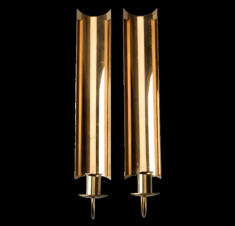 """Vägglampetter, 2 st, mässing, """"Reflex"""", Pierre Forsell för Skultuna. Utrop: 800 Sek. Formstad Auktioner"""