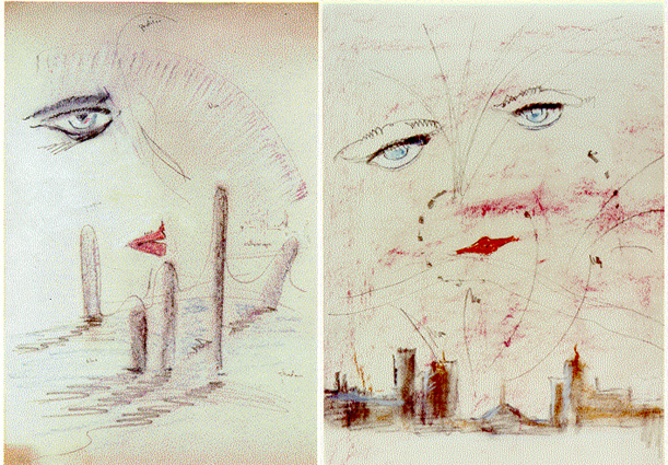 Cugat's original sketches for the front cover of The Great Gatsby