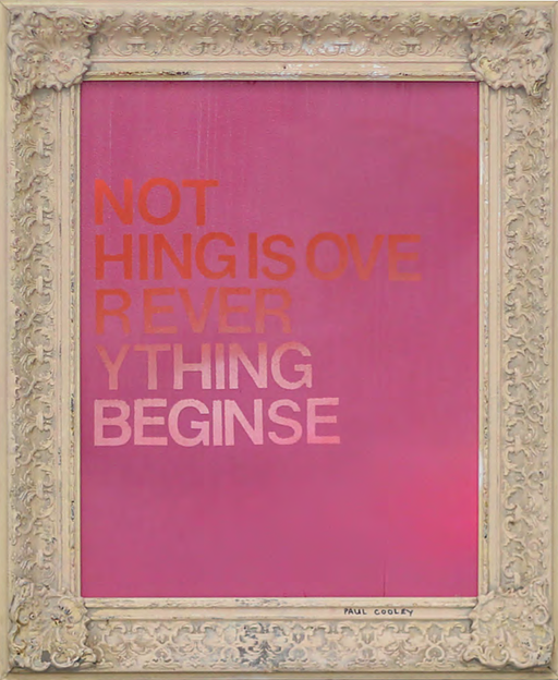 The sentence that never ends, Paul Cooley. Spray paint on wood and vintage frame. Courtesy ATO Gallery