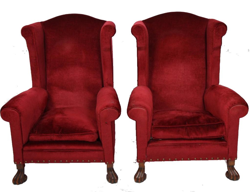 Paire de fauteuils capitonnés de velours rouge, Epoque Xxème siècle Oise Enchères