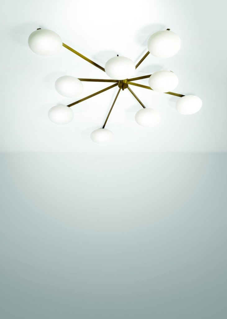 Angelo Lelii - Ceiling lamp in brass, nickel-plated metal and frosted opal glass, 200x22x97 cm, Arredoluce, Italy, circa 1950