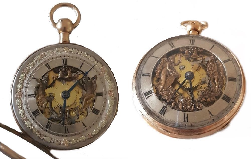Links: Prunk Jaquemarts Automat aus massivem Gelbgold, Schweiz um 1810 Rechts: LEVASSEUR - Goldspindeluhr mit beweglichen Figuren, Paris um 1800