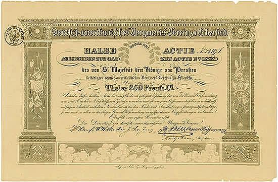 Deutsch-amerikanischer Bergwerks-Verein Elberfeld, 01.11.1826, halbe Aktie über 250 Thaler Preuss. Ct. Schätzpreis: 900-1.500 EUR