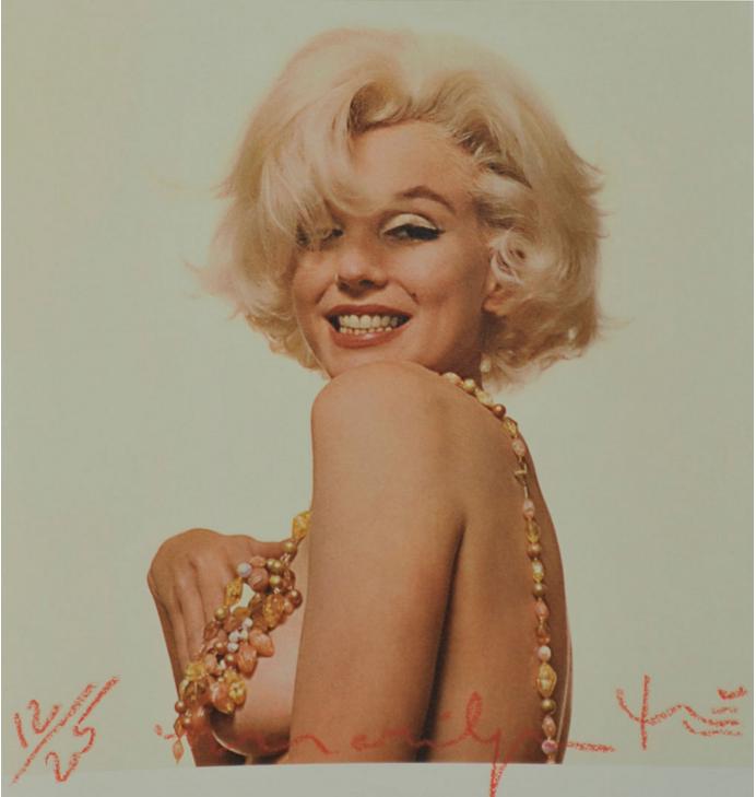 Bert Stern « Marilyn Monroe, that famous smile » Photo, tirage pigmentaire, signée sur la face et au dos, tamponnée au dos.  Numérotée 12 sur 25
