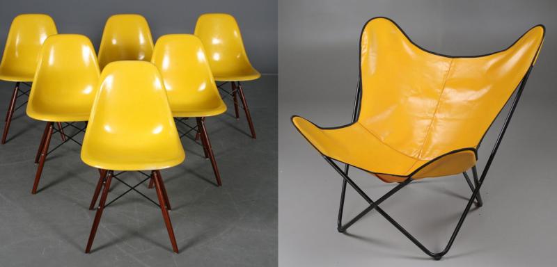 Vänster: Charles och Ray Eames för Herman Miller. Såldes år 2011 för 11 300 kronor. Höger: Fladdermusfåtölj, gul vinylklädsel, 1950/60-tal. Foton: Lauritz.com och Stadsauktion Sundsvall.