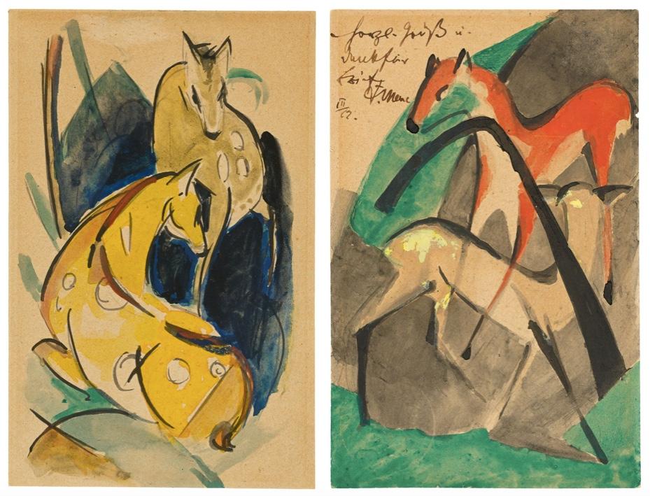 FRANZ MARC (München 1880 – 1916 Verdun) Links: Zwei gelbe Tiere (Zwei gelbe Rehe), Aquarell, Tusche/festes Papier, 1913 Rechts: Rotes und gelbes Reh, Aquarell, Tusche/festes Papier, 1913