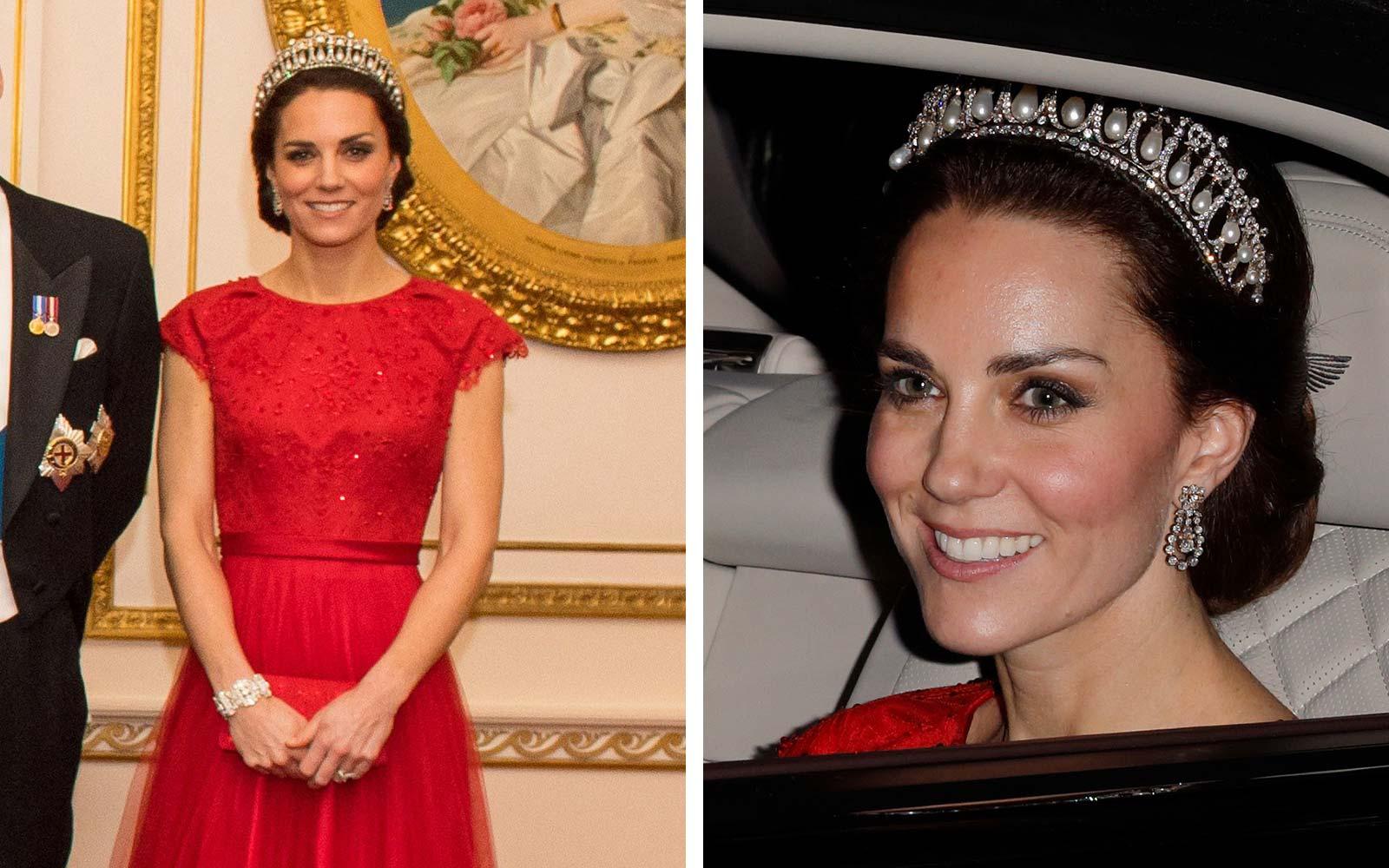 La Duchesse de Cambridge Kate Middleton a porté la tiare à plusieurs reprises