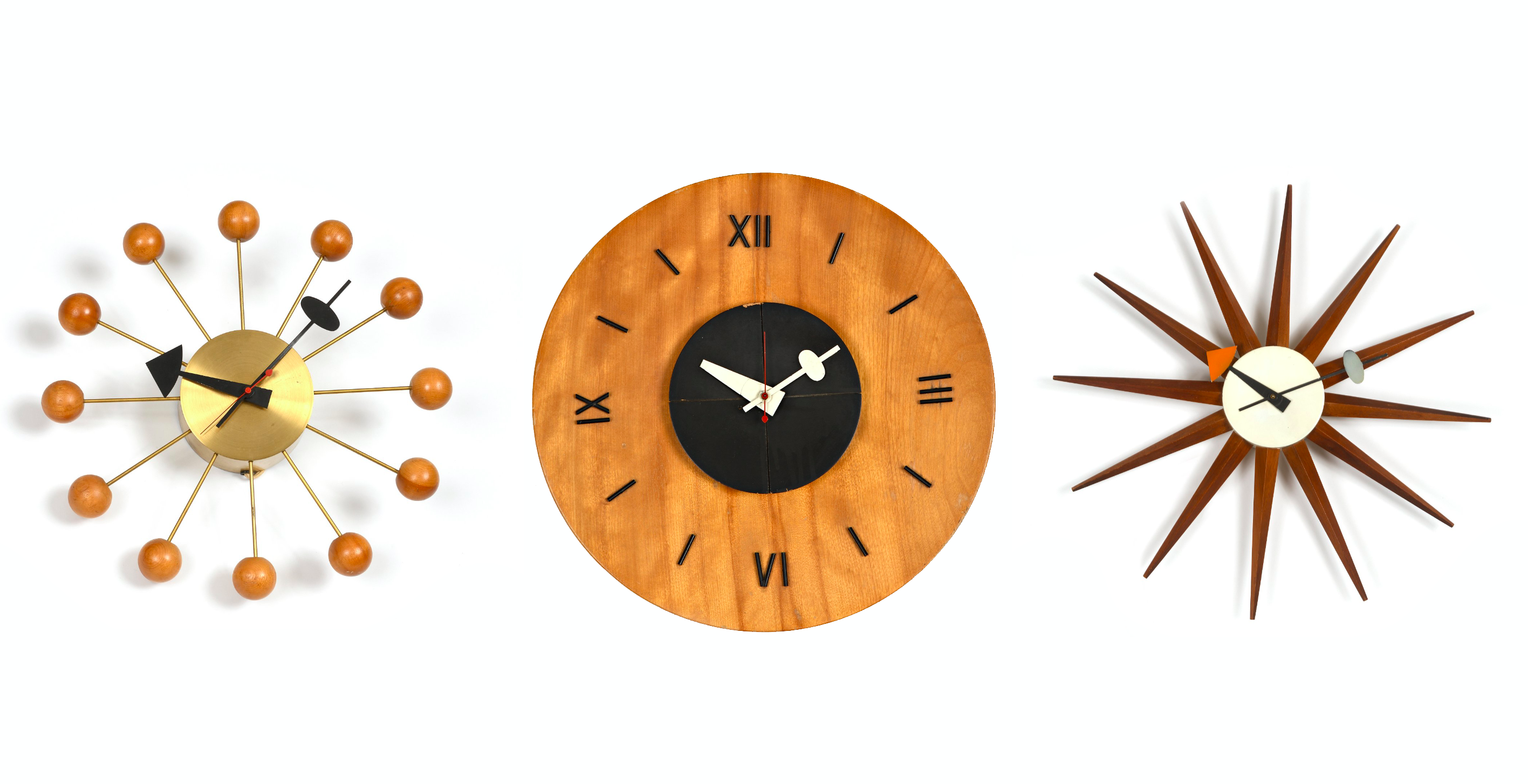 George Nelson, horloges « Ball Clock », modèle et « Sunburst Clock », images ©Villandray & Associés