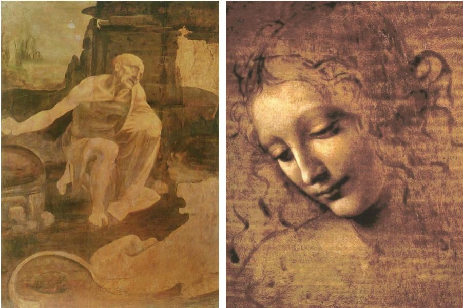 Links: Der heilige Hieronymus, Öl u. Tempera/Holz, um 1480, Vatikan, Musei Vaticani Rechts: La Scapigliata, Öl/Holz, um 1508, Parma, Galleria nazionale di Parma