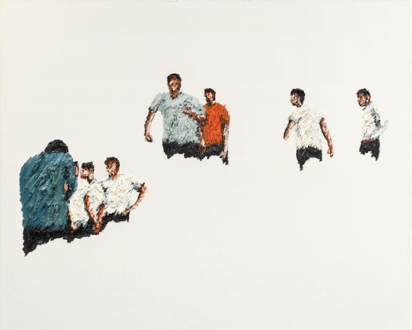 CLEMENS KRAUSS (*1981) - Das Körperkörper-Problem, Öl/Lwd., 190x160 cm, bezeichnet, signiert und datiert, 2006 Schätzpreis: 8.000-16.000 EUR