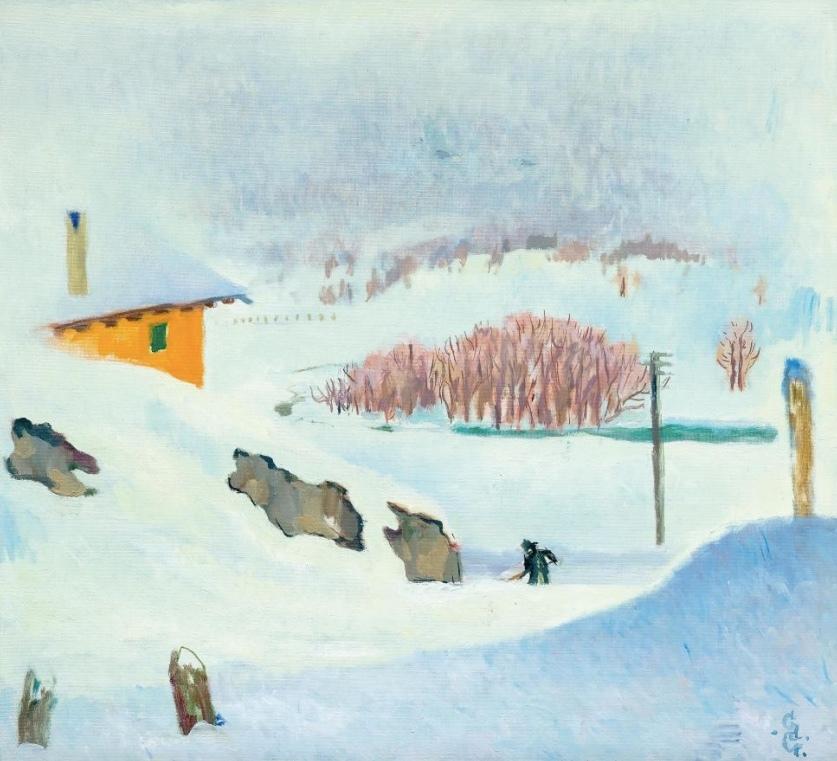 GIOVANNI GIACOMETTI (1868 Stampa - 1933 Glion) - Inverno, oil / canvas, inscribed, signed and dated, 1932