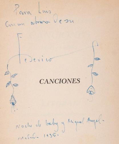 Federico Garcia Lorca, Canciones 1921-1924, dédicace à Luis Cernuda