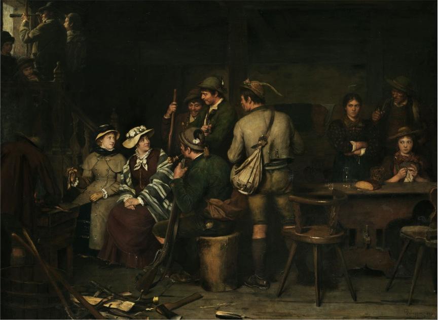 FRANZ VON DEFREGGER (1835 Stronach - 1921 München) - Fremde auf der Alm, Öl/Lwd., 100 x 130 cm, signiert und datiert, 1883 Schätzpreis: 80.000-120.000 EUR