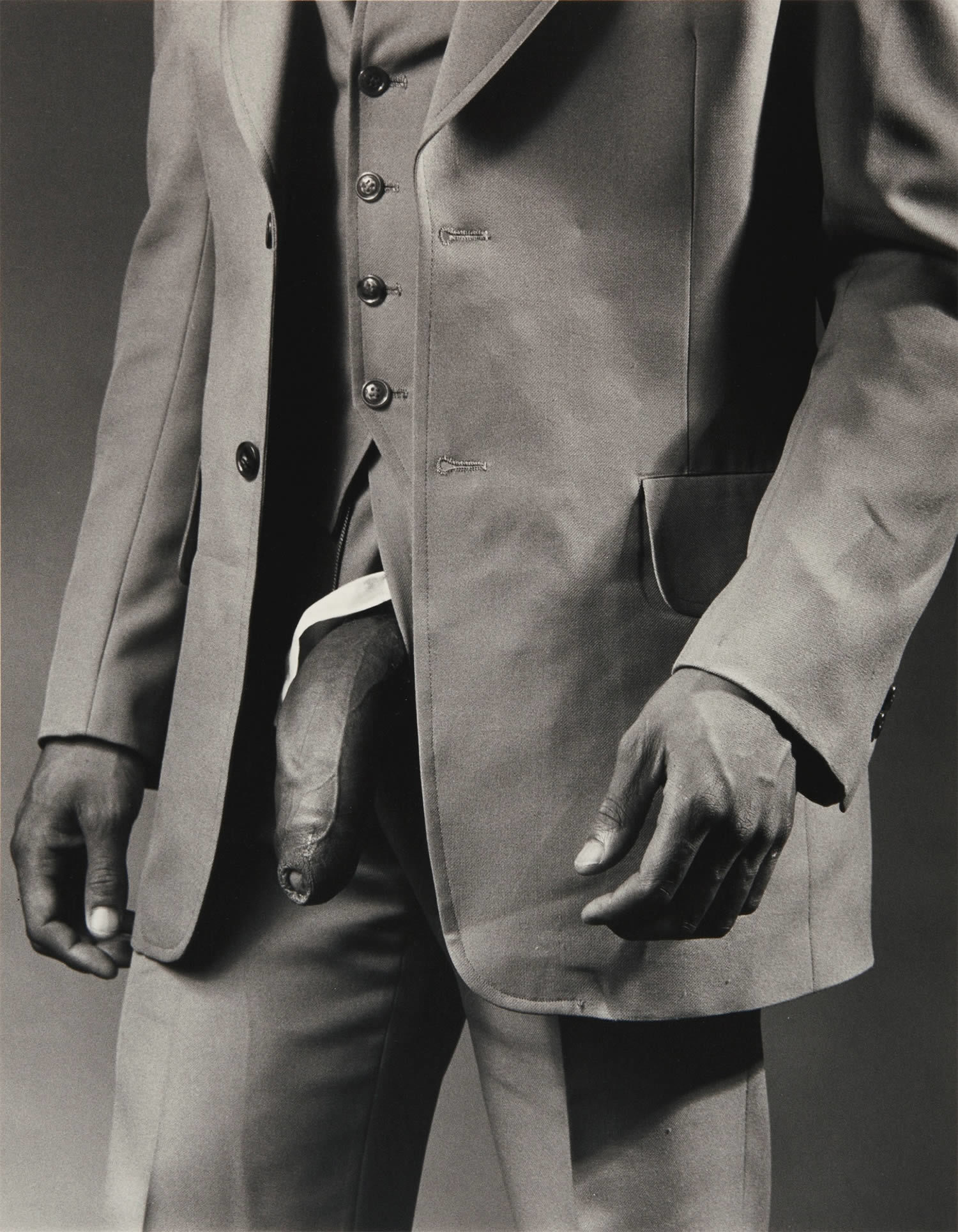 Robert Mapplethorpe, Man in Polyester Suit (1980) Image: courtesy of Sotheby's Robert Mapplethorpe, Man in Polyester Suit (1980) Image: courtesy of Sotheby's