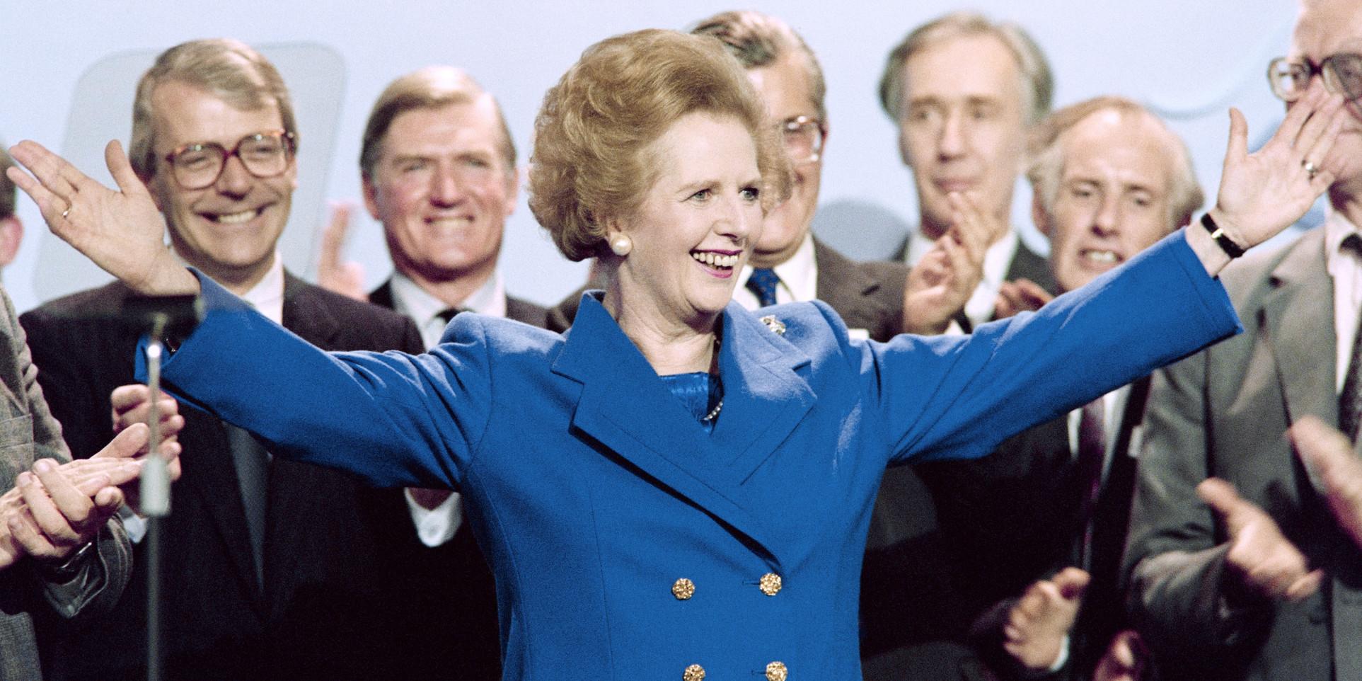 Margaret Thatcher, octobre 1989 à la fin d'une réunion politique  © JOHNNY EGGITT / AFP