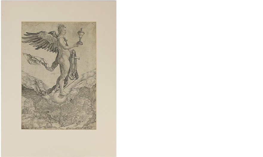 ALBRECHT DÜRER (1471Nürnberg 1528) - Nemesis (Das große Glück), Kupferstich, monogrammiert, um 1501