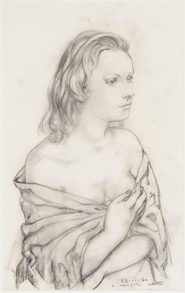 TSUGUJI (TSUGUHARU LÉONARD) FOUJITA (1886 Edogawa, Tokio - 1968 Zurich) - Portrait d'Odette, Kreidezeichnung, signiert, 1960