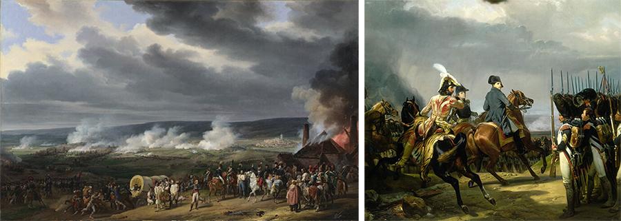Werke von Horace Vernet. Links: Die Schlacht von Jemmapes, London, National Gallery. Rechts: Die Schlacht von Jena, Versailles, Musée National des Châteaux de Versailles et de Trianon