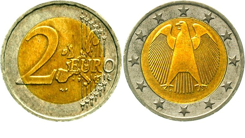 BRD, 2 Euro (2001?) ohne Jahreszahl und ohne Münzstättenbuchstabe