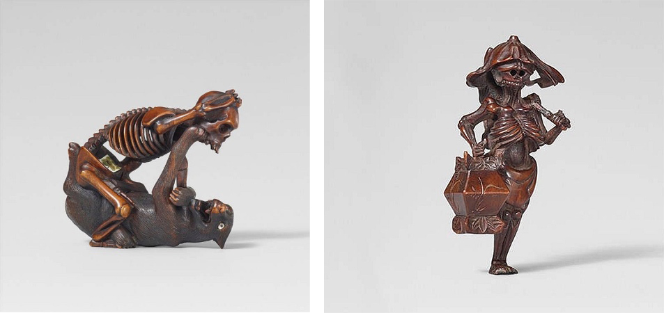 Gauche : Netsuke de l'école Hida, fin XIXe / Droite : rare Netsuke de Botan Tôrô, images ©Lempertz