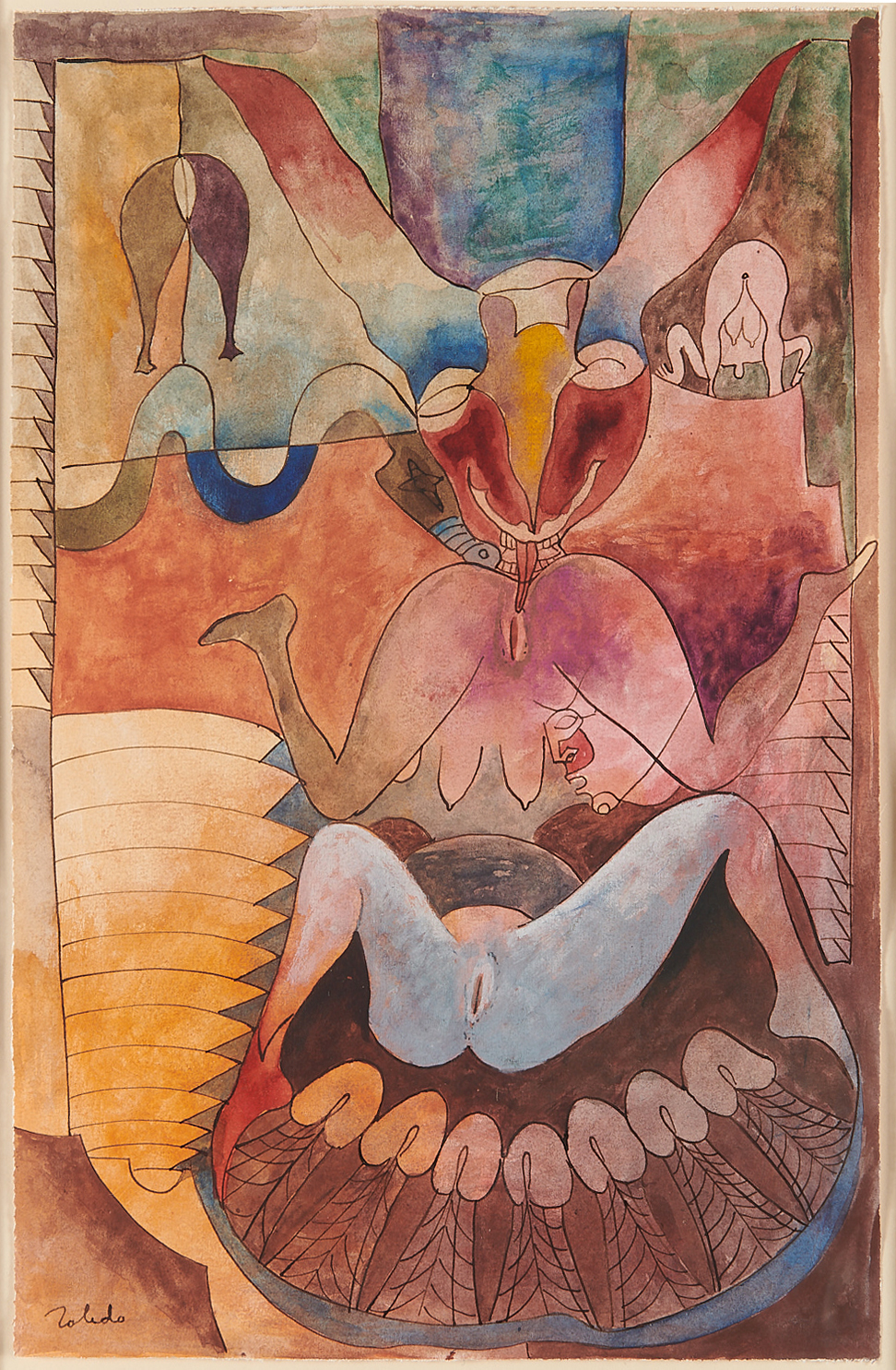 Francisco Toledo, Woman with Rabbits. c. 1970, watercolor and ink on paper.