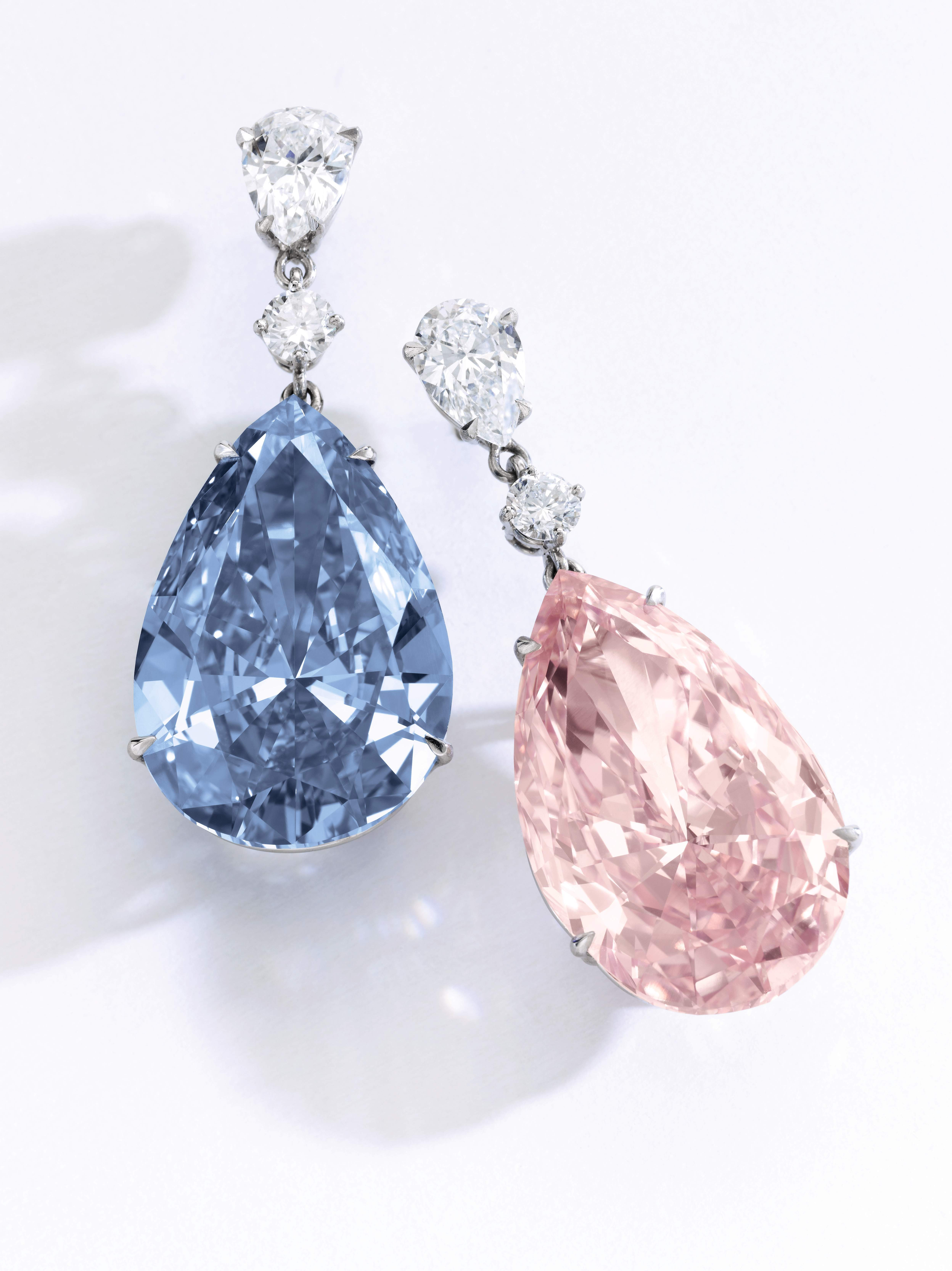 'THE APOLLO BLUE', Fancy Vivid Blue, 14.54 carats, Internally Flawless, Type IIb 'THE ARTEMIS PINK', Fancy Intense Pink, 16.00 carats, VVS2 clarity, Type IIa