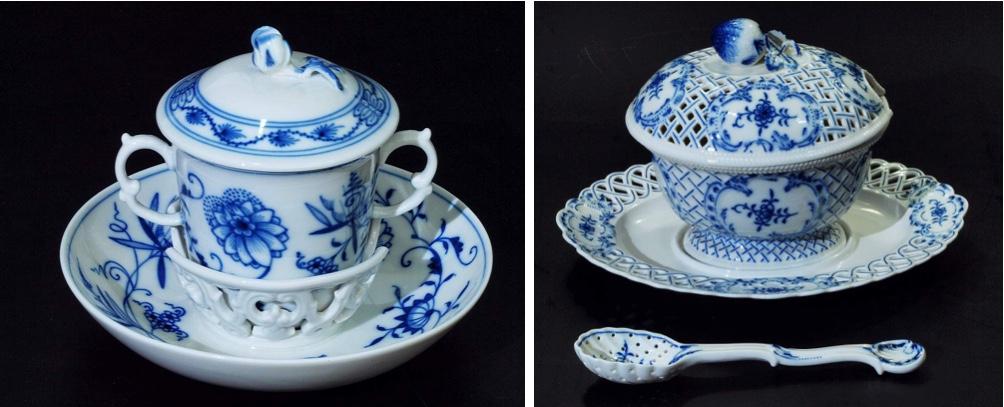 Links: MEISSEN - Trembleuse, blaues Zwiebelmusterdekor, H: 11 cm, um 1980 Kein Mindestpreis Rechts: MEISSEN -Deckelsauciere/Présentoir/Schöpflöffel, blaues Zwiebelmusterdekor, nach 1945 Startpreis: 300 EUR