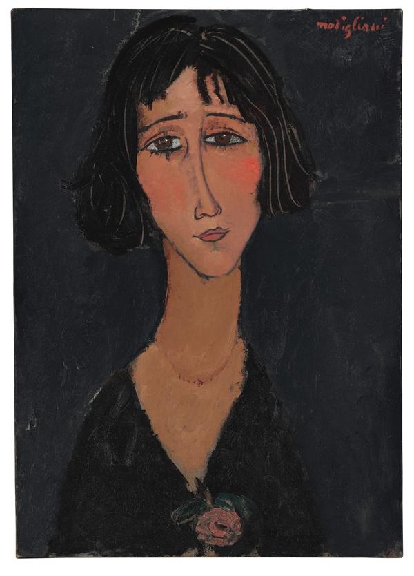 Amedeo Modigliani. Jeune Femme à la Rose (Margherita), 1916. Bild från Christie's.