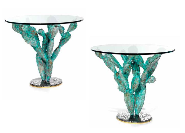 """Paire de tables sculptures """"Cactus"""" Alain Chervet Estimation: 8 000/10 000 €"""