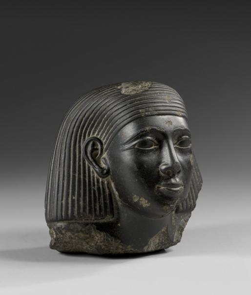 Egypte, Basse Epoque Début de la 26e dynastie Tête de statue en basalte