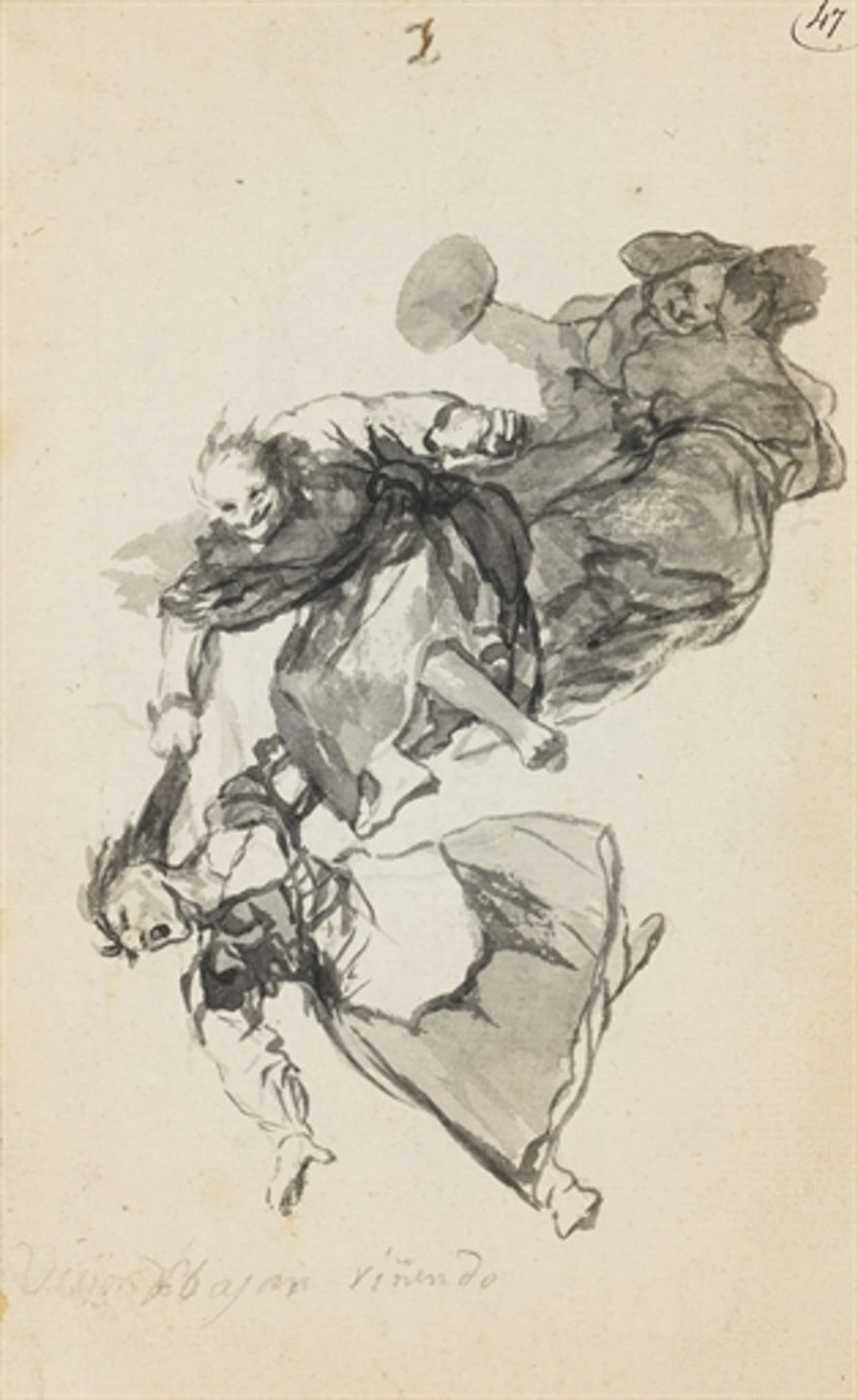 Fransisco Goya, «Bajan riñendo », dessin, numéroté 2, image via Christie's