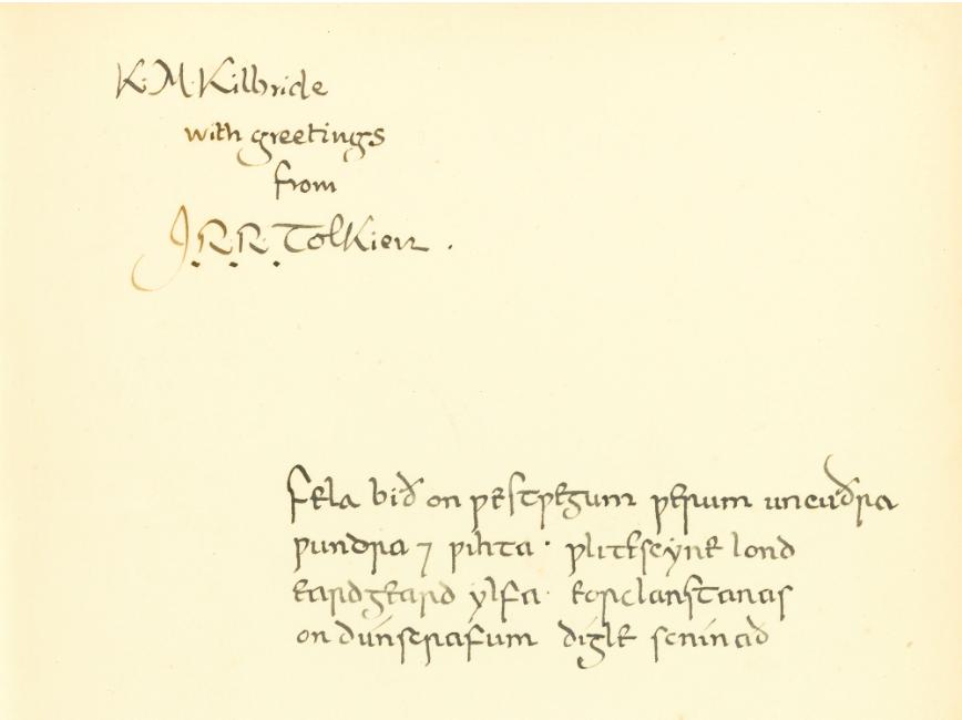 Tolkiens hälsning till sin elev